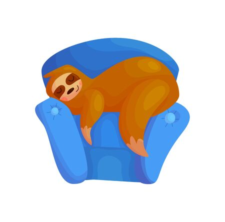 Cute lazy sloth sleeping character design. Sleep wild animal nursery poster vector illustration. Funny tropical relax concept. Chair rest Ilustração