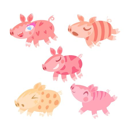 Funny cartoon pigs character set. Baby animal cute vector illustration collection isolated on white. Little farm piglets in flat style