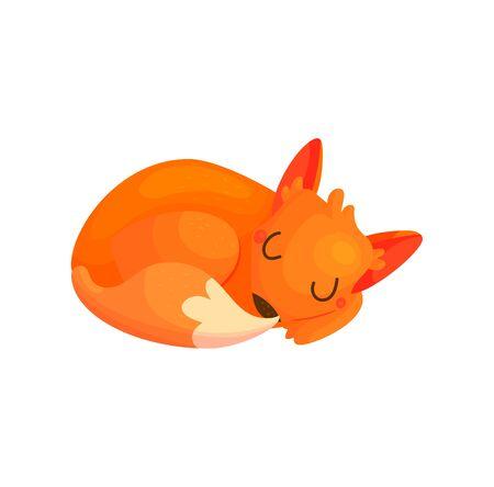 Cartoon sleeping fox vector illustration. Cute red baby animal. Funny nursery woodland poster
