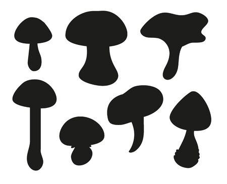 Mushroom silhouette set