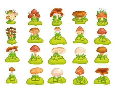 Cartoon mushroom set. 向量圖像