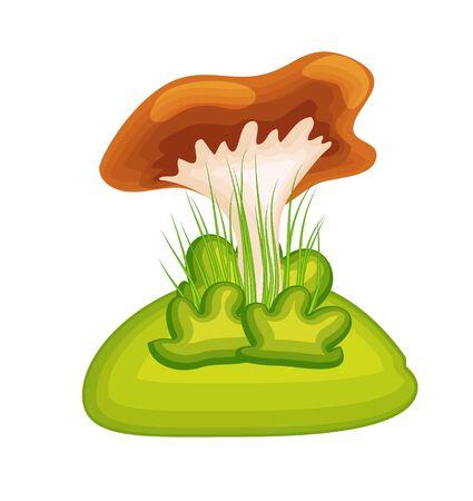 Cartoon mushroom with grass