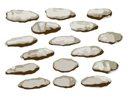 Flat organic stones set