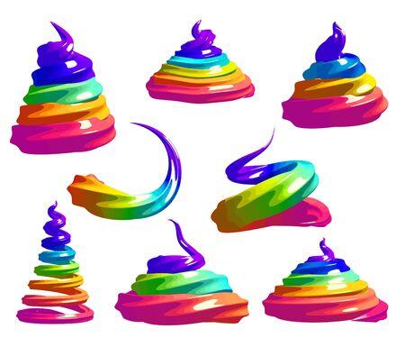 Unicorn rainbow meringue cartoon set.