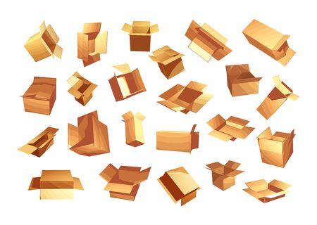 Cardboard boxes vector set