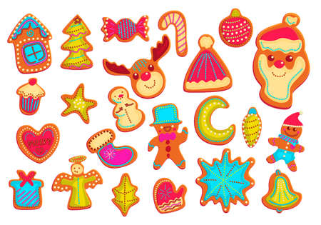 Gingerbread cookies hand drawn vector color illustrations set.