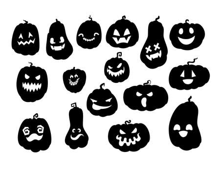 Spooky halloween pumpkins silhouettes