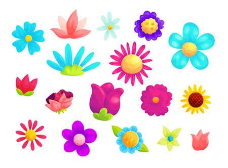 Blooming summer flowers vector illustrations set Ilustração