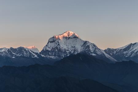 Daulagiri Massive 8000 m peak view from Poon hill during sunrise Stock Photo