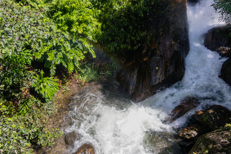 bubbling wild river in tropical environment with small rainbow