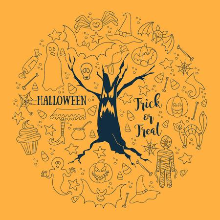 dead tree: Halloween vector background. Round set of vector design elements. Line art for card, poster, textile, paper print. Illustration
