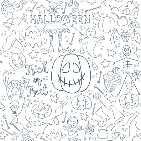 Oscuro Halloween Vector Patrones Sin Fisuras. Textura De Línea Sin ...