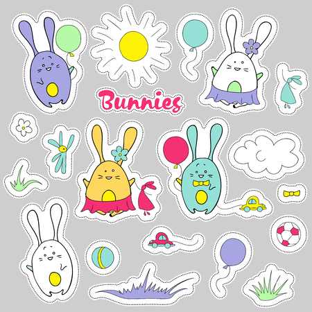 Cute vector stickers of rabbits. Baby design elements for textile, paper and prints. Bunnies doodle set. Flat style