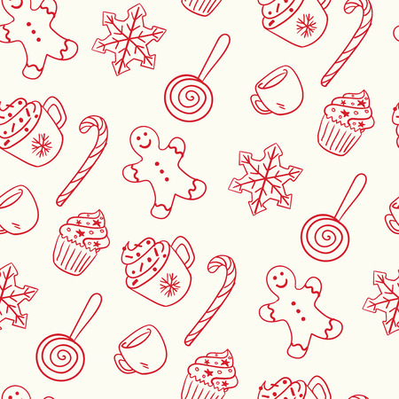 Seamless hand-drawn Christmas and New Year pattern.Vector abstract Hand drawn background for design and decoration textile, covers, package, wrapping paper. Doodles illustration