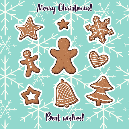 Collection of Christmas stickers in cartoon style.
