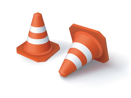 image of two red traffic cones  Illustration