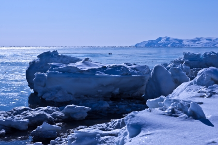 Spring landscape on Okhotsk sea  photo