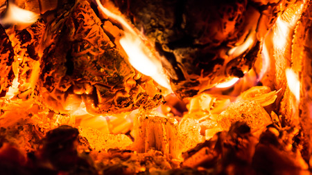 Burning wood and coal in the furnace Stock Photo