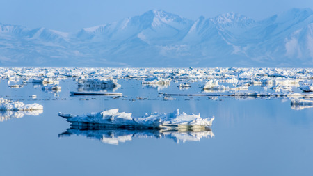 The coast of the Sea of Okhotsk in the spring with floating ice floes Stock Photo