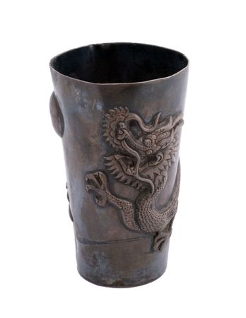 Old silver Goblet with Ornamen isolated over white photo