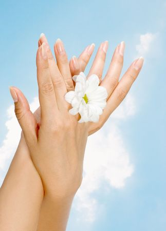 image of beautiful nails and woman fingers photo