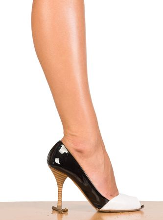 Stop smoking nice womans leg with broken brown cgarette photo