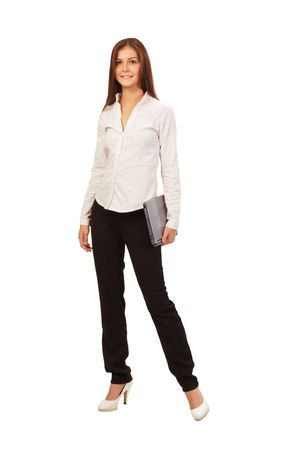 a young businesswoman with laptop, on white background photo