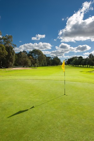 beautiful golf course landscape of a green field with trees and a bright blue sky photo
