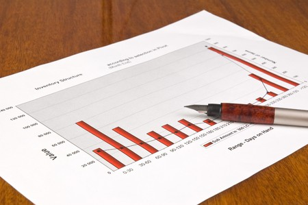 Close up shot of a Fountain pen and Business chart. Shallow DOF. photo