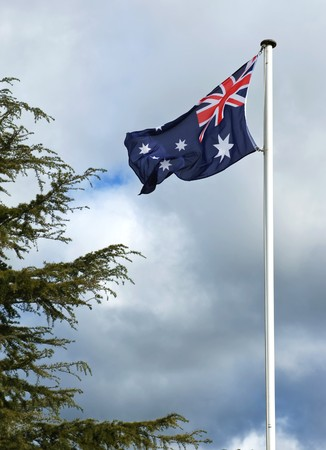 Australia flag in the gray light of the evening photo