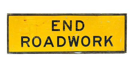 roadwork: old end roadwork traffic sign on white background
