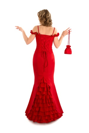 evening gown: image of a Beautiful red Evening gown isolated on white Stock Photo