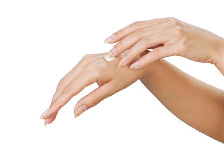 lotion: Two woman hands with moisturizer body cream isolated on white
