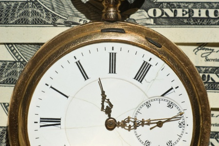 antique: Time and Money concept image.Shallow DOF Stock Photo