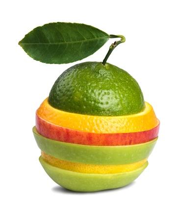 image of mixed fruits isolated on white background  photo