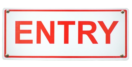 White and Red Square Entry sign isolated on a white background.  photo