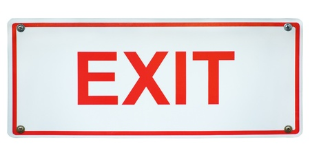 White and red square Exit sign isolated on a white background. Stock Photo - 9392063