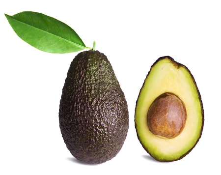whole and half avocados with leaf isolated on white background photo