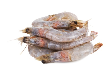 heap of raw and fresh prawn isolated on white Stock Photo - 9683048