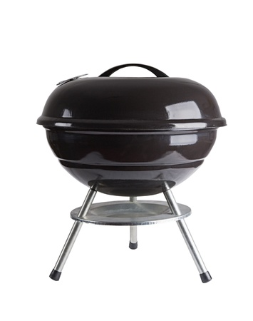 kettle barbecue grill with cover isolated on white  photo