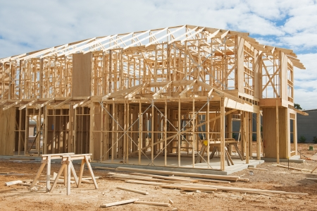 timber frame: New residential construction home framing.Construction site Stock Photo