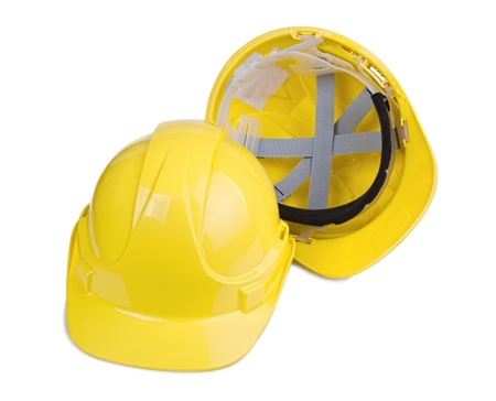 vented: Yellow construction and industrial helmet isolated on white background Stock Photo