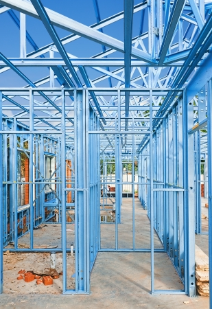 material:  New home under construction using steel frames