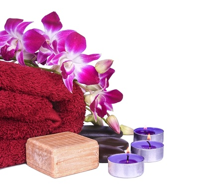 orchid flowers and spa item isolated on white Stock Photo - 10226280