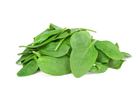 fresh spinach leaves isolated on white background  photo