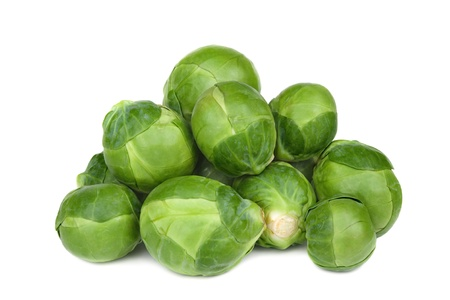 Ripe Green brussel sprouts isolated on white background photo
