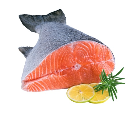 fresh raw salmon with lemon and  rosemary isolated on white background  photo