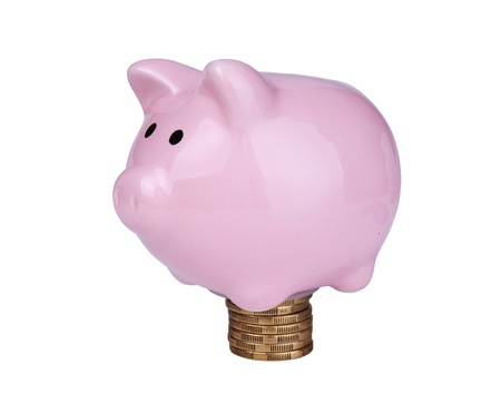 rouleau: Pink piggy bank  on the rouleau  isolated on white background