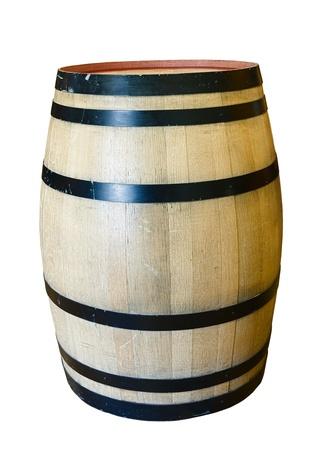 Wooden oak wine barrel isolated on white background Stock Photo - 10706998