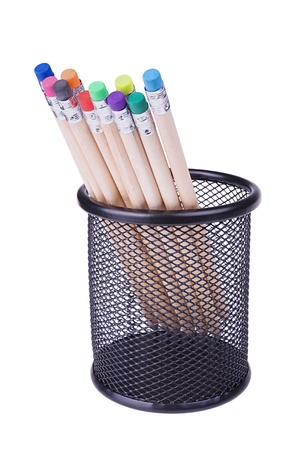 Several pencils with erasers different colours in a  mesh cup isolated on white background photo